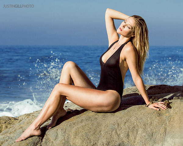 Malibu beach swimsuit blonde model photoshoot