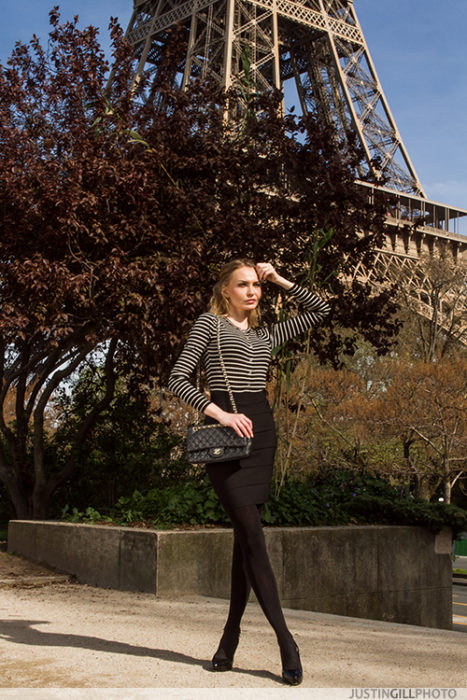 Paris Spring Fashion Editorial Model Eiffel Tower Tour