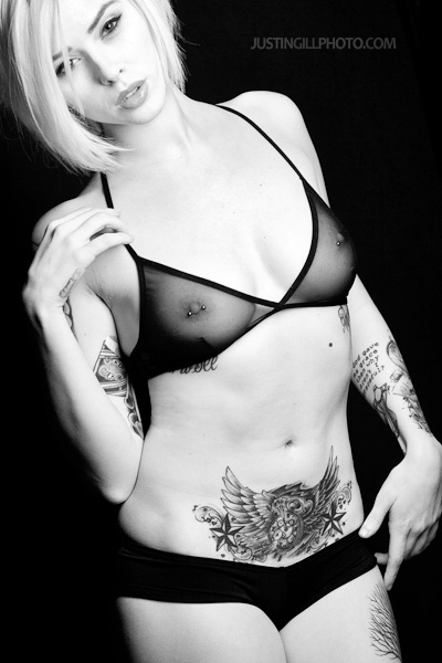 Alysha Nett nude tattoo lingerie glamour black and white photo