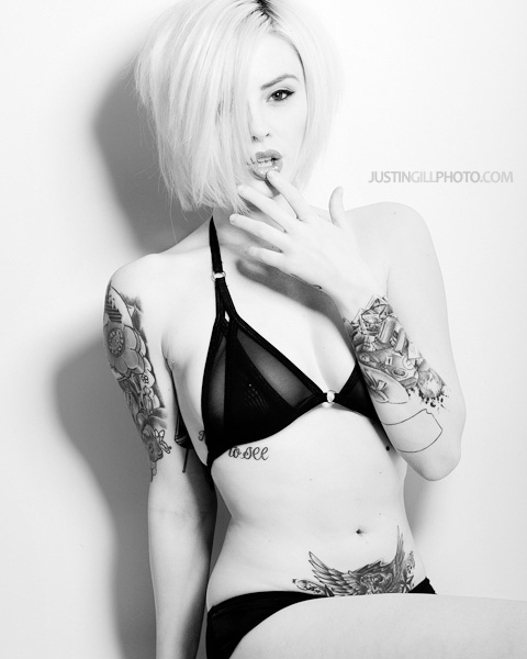 Alysha Nett tattoo lingerie glamour black and white